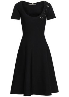 Zac Posen Woman Appliquéd Stretch-knit Dress Black