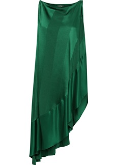 Zac Posen Woman Asymmetric Silk-satin Jacquard Tunic Forest Green