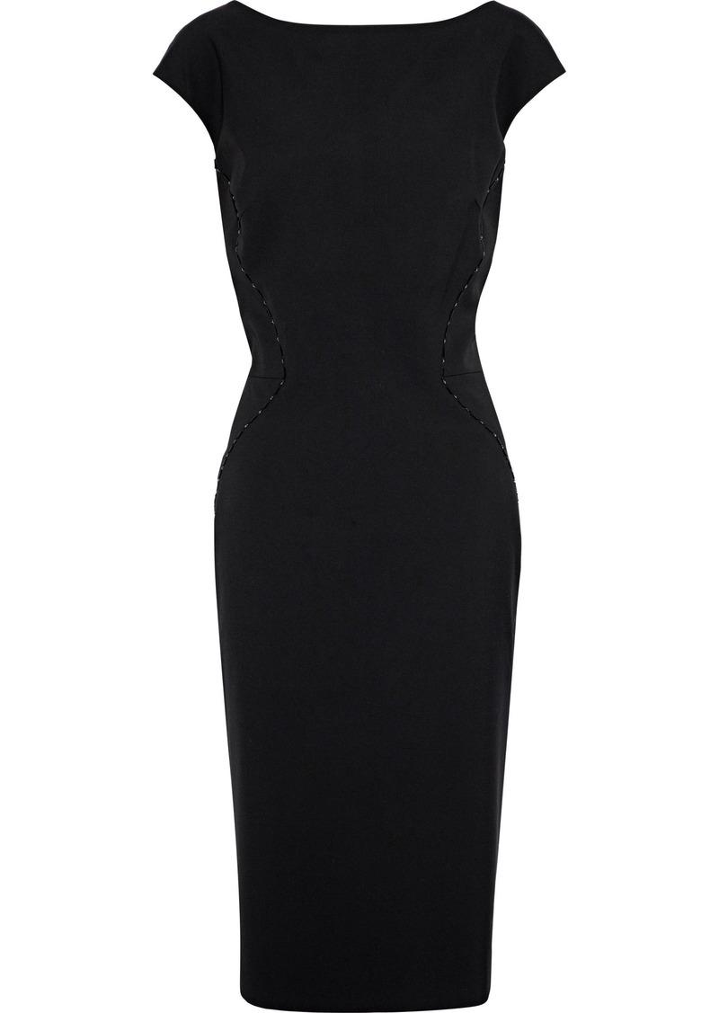 Zac Posen Woman Bead-embellished Silk-blend Ponte Dress Black