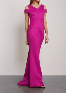 Zac Posen Woman Cold-shoulder Fluted Knitted Gown Magenta