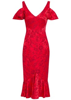 Zac Posen Woman Cold-shoulder Ruffled Floral-jacquard Dress Red