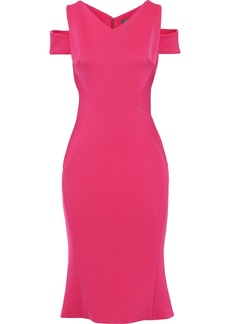 Zac Posen Woman Cold-shoulder Stretch-ponte Dress Fuchsia