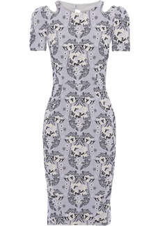 Zac Posen Woman Cutout Cotton-blend Floral-jacquard Dress Gray