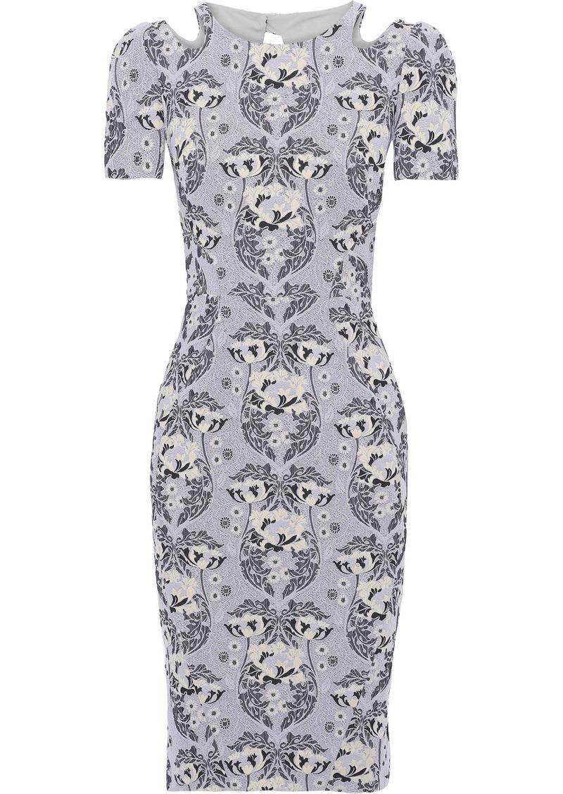Zac Posen Woman Cutout Cotton-blend Floral-jacquard Dress Gray