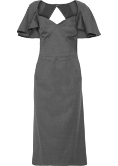 Zac Posen Woman Cutout Ruffled Wool Midi Dress Gray