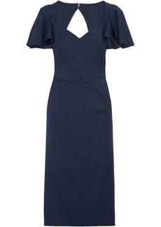 Zac Posen Woman Cutout Wool-crepe Dress Navy