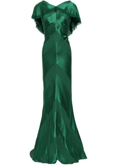 Zac Posen Woman Draped Frayed Satin-crepe Gown Forest Green