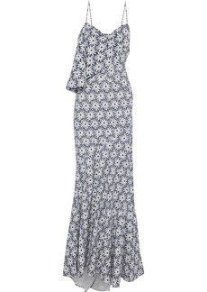 Zac Posen Woman Draped Perforated Printed Cotton Gown Navy