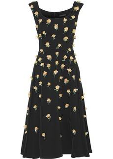 Zac Posen Woman Embellished Pleated Crepe Midi Dress Black
