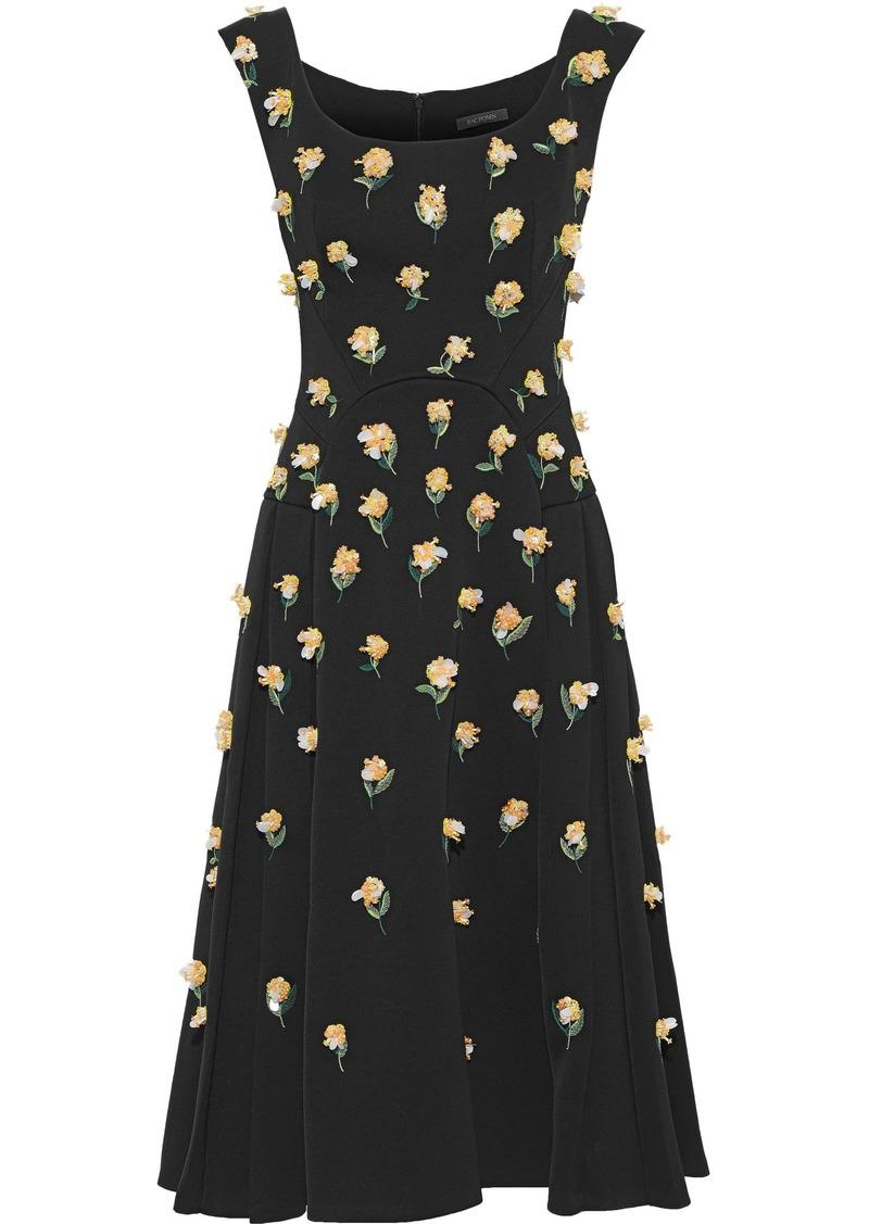 Zac Posen Woman Embellished Pleated Crepe Midi Dress Black