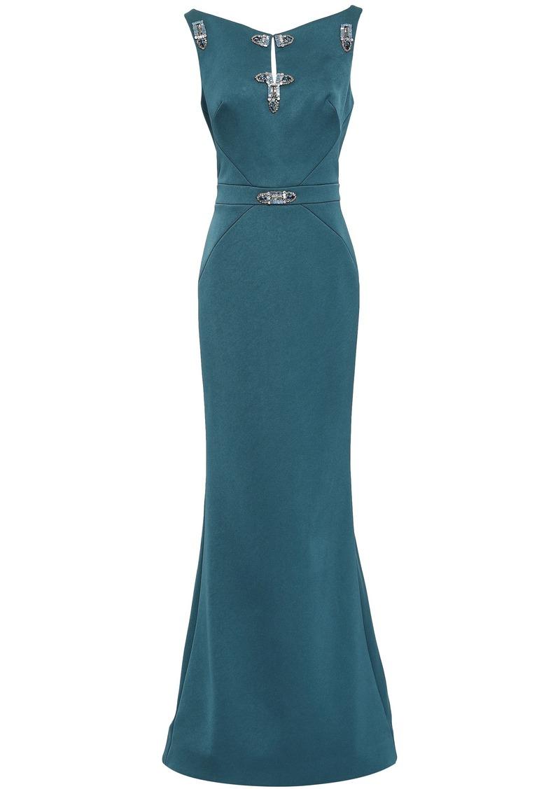 Zac Posen Woman Embellished Satin Gown Storm Blue