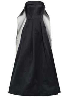 Zac Posen Woman Flared Cape-effect Duchesse-satin Gown Black