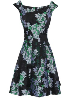 Zac Posen Woman Flared Floral-jacquard Mini Dress Black
