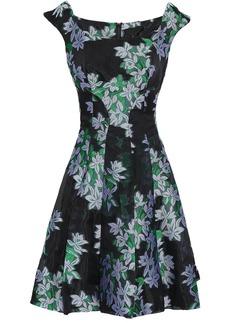 Zac Posen Woman Flared Floral-jacquard Mini Dress Black