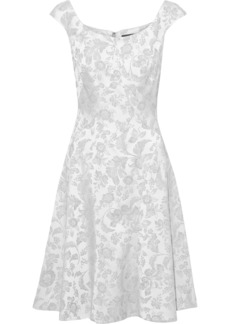Zac Posen Woman Flared Satin Floral-jacquard Dress Silver