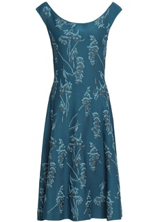 Zac Posen Woman Floral-jacquard Dress Petrol