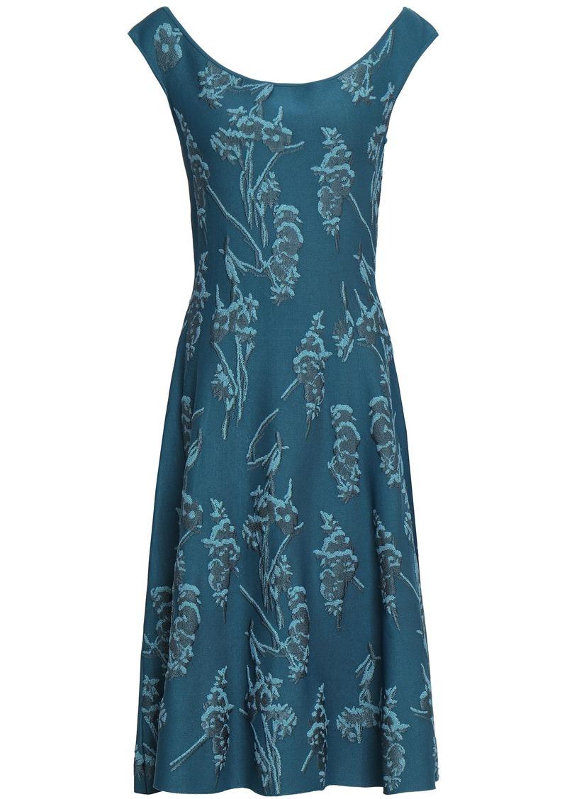 Zac Posen Woman Floral-jacquard Dress Petrol