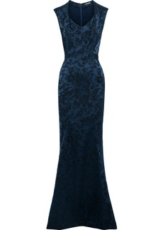 Zac Posen Woman Fluted Brocade Gown Navy