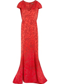 Zac Posen Woman Fluted Brocade Gown Red