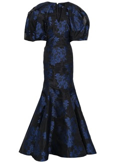 Zac Posen Woman Fluted Floral-jacquard Gown Black