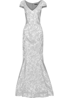 Zac Posen Woman Fluted Floral-jacquard Gown Silver