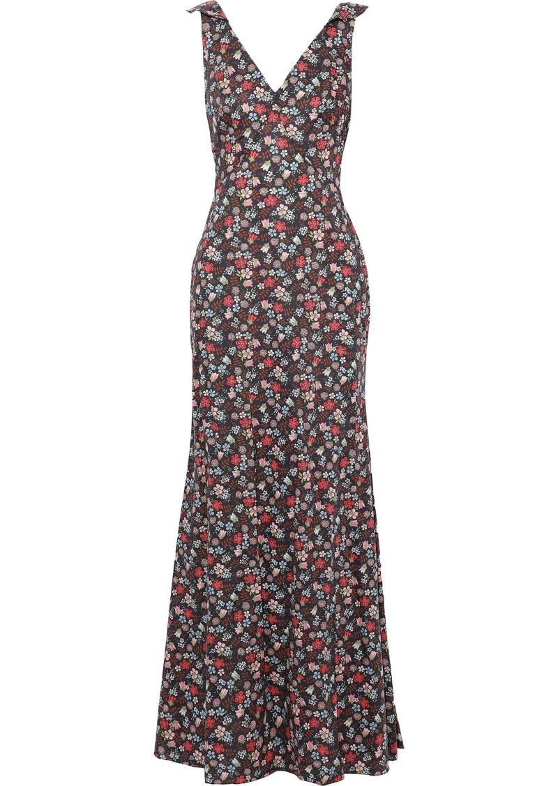 Zac Posen Woman Fluted Floral-print Cotton-poplin Gown Multicolor