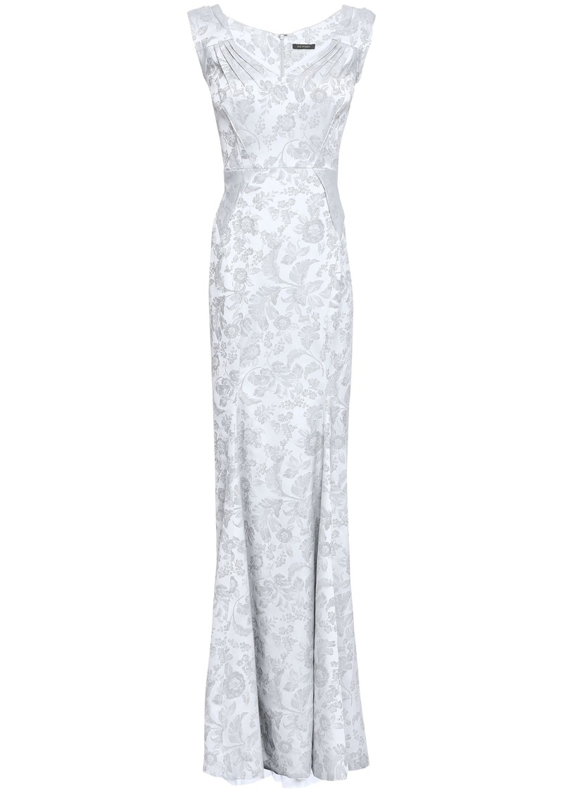 Zac Posen Woman Fluted Jacquard Gown Silver