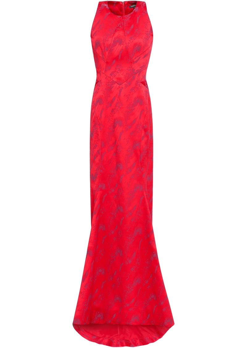 Zac Posen Woman Fluted Jacquard Gown Tomato Red
