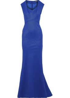 Zac Posen Woman Fluted Textured-cady Gown Royal Blue
