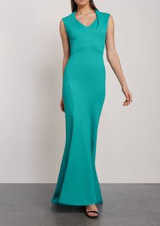 Zac Posen Woman Fluted Textured-cady Gown Teal