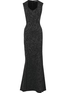 Zac Posen Woman Fluted Satin-jacquard Gown Midnight Blue