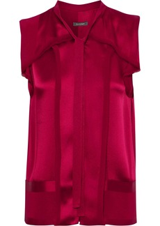 Zac Posen Woman Frayed Chiffon-trimmed Silk-satin Jacquard Top Merlot