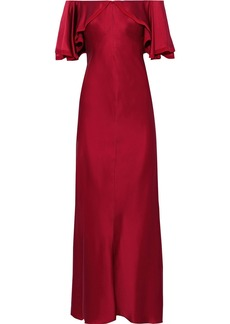 Zac Posen Woman Off-the-shoulder Chiffon-trimmed Satin Gown Crimson