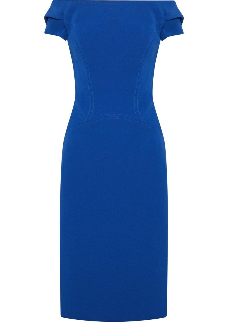 Zac Posen Woman Off-the-shoulder Cutout Crepe Dress Blue