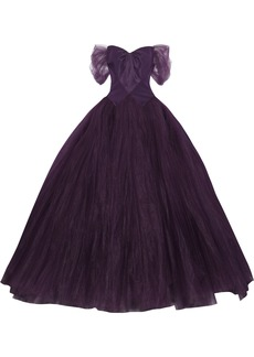 Zac Posen Woman Off-the-shoulder Duchesse Silk-satin And Tulle Gown Purple