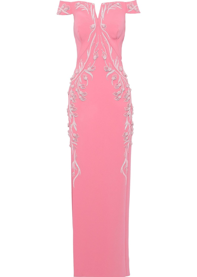 Zac Posen Woman Off-the-shoulder Embellished Crepe Gown Pink