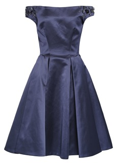 Zac Posen Woman Off-the-shoulder Embellished Duchesse-satin Dress Indigo