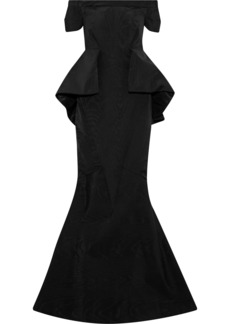 Zac Posen Woman Off-the-shoulder Faille Peplum Gown Black