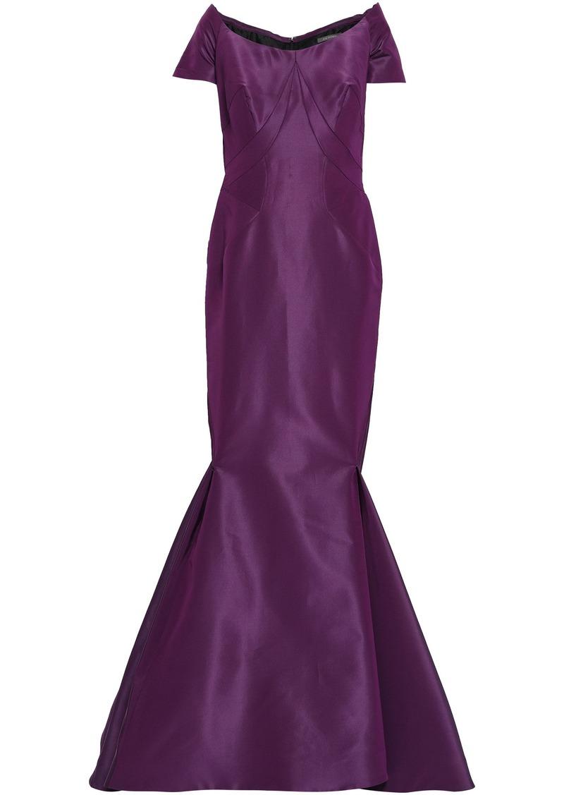 Zac Posen Woman Off-the-shoulder Flared Silk-taffeta Gown Purple