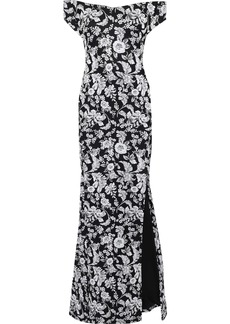 Zac Posen Woman Off-the-shoulder Floral-jacquard Gown Black