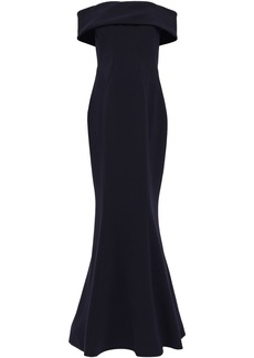 Zac Posen Woman Off-the-shoulder Fluted Crepe Gown Navy