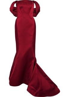 Zac Posen Woman Off-the-shoulder Fluted Duchesse-satin Gown Burgundy