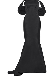 Zac Posen Woman Off-the-shoulder Fluted Duchesse-satin Gown Navy