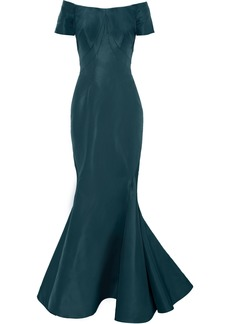 Zac Posen Woman Off-the-shoulder Fluted Silk-faille Gown Teal