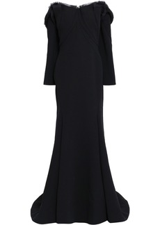 Zac Posen Woman Off-the-shoulder Frayed Silk-crepe Gown Black