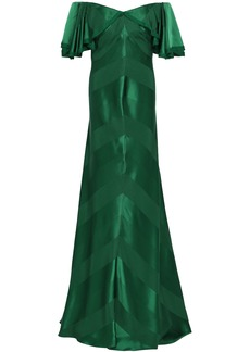 Zac Posen Woman Off-the-shoulder Striped Satin-jacquard Gown Forest Green