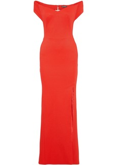 Zac Posen Woman Off-the-shoulder Textured-cady Gown Coral