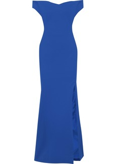 Zac Posen Woman Off-the-shoulder Textured-cady Gown Royal Blue