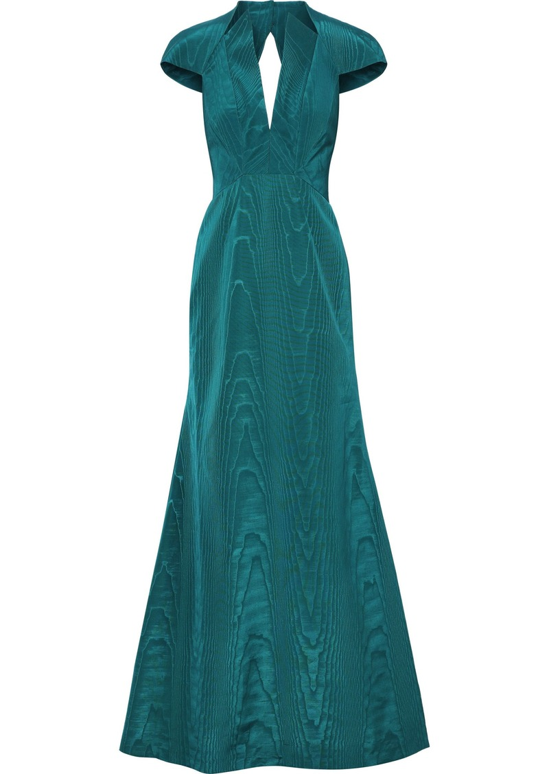 Zac Posen Woman Open-back Fluted Moire Gown Teal