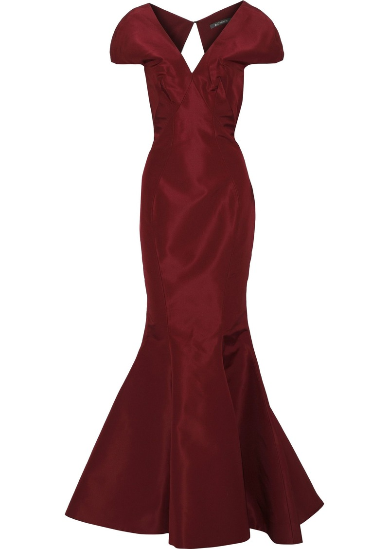 Zac Posen Woman Open-back Fluted Silk Duchesse-satin Gown Burgundy